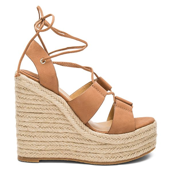 Tony Bianco Biba Wedge in tan - Leather upper with rubber sole. Lace-up front with wrap...