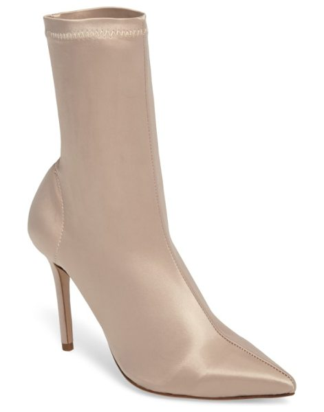 TONY BIANCO davis stretch satin bootie in blonde satin - Make every step fierce and powerful in this pointed...