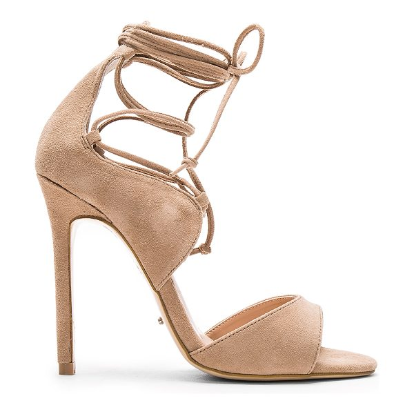 Tony Bianco Karim Heel in tan - Suede upper with man made sole. Lace-up front with wrap...