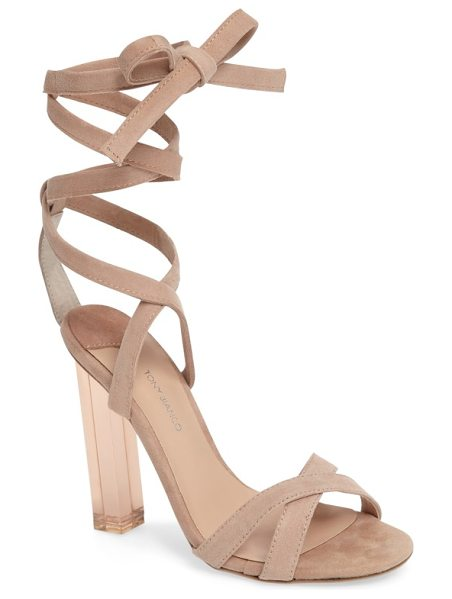 Tony Bianco komma translucent heel sandal in blush suede - A tinted, see-through stiletto molded in a square column...