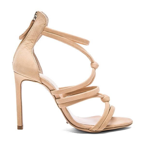 Tony Bianco Laika Heel in beige - Leather upper with man made sole. Back zip closure. Knot...