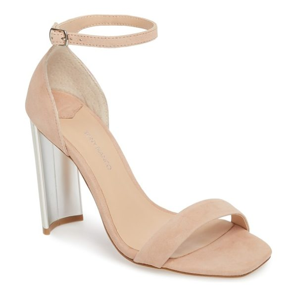 Tony Bianco samala ankle strap sandal in beige - A metallic crescent heel adds leg-lengthening lift to a...