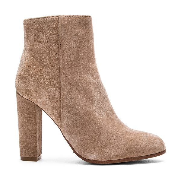 Tony Bianco Tia Bootie in beige - Suede upper with man made sole. Side zip closure. Heel...