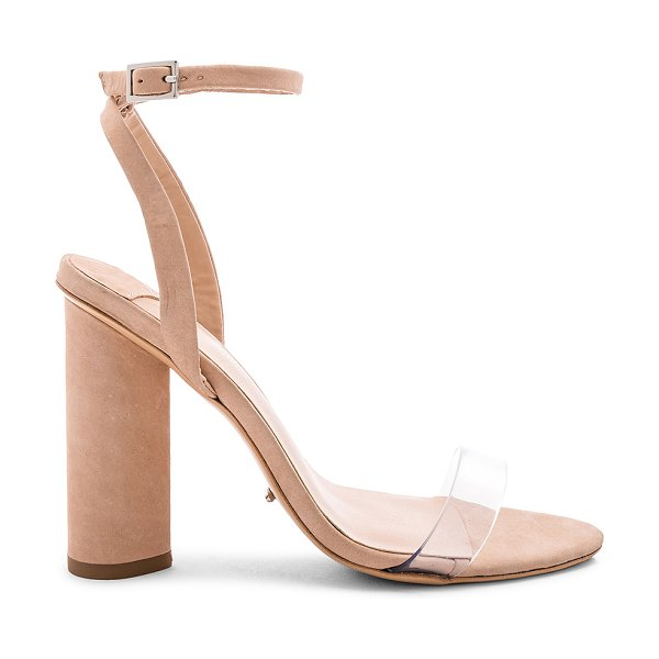 """Tony Bianco Tommi Sandal in beige - """"Suede and clear vinyl upper with man made sole. Ankle..."""