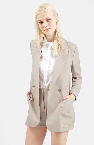 Topshop 70s twill longline jacket in stone - Oversized patch pockets accentuate the retro silhouette...