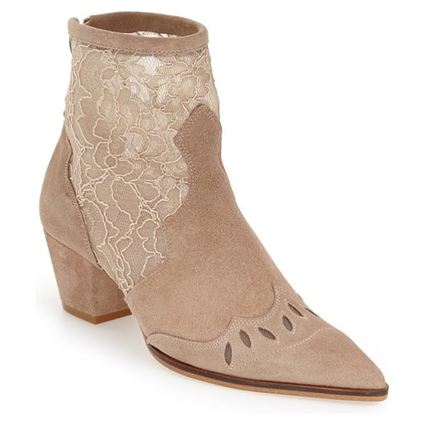Topshop 'alegra' lace pointy toe boot in stone - Lacy floral mesh adds a feminine twist to a pointy-toe...
