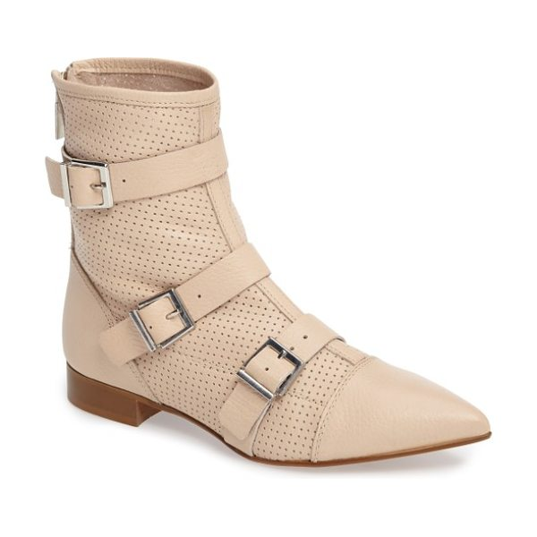 Topshop andrew buckle boot in nude - Supple nubuck leather is diamond-punched and wrapped...