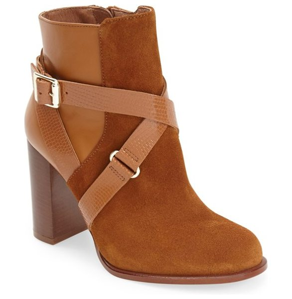 TOPSHOP aroma ankle boot in tan - Reptile-embossed straps embellished by gleaming hardware...