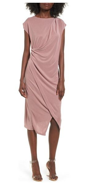 Topshop asymmetrical slinky drape midi dress in blush - Opposite shoulder and hip pleats flow into another for...
