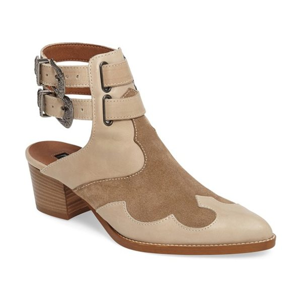 Topshop 'austin' western bootie in sand - Lustrous ornate buckles lend an eye-catching touch to a...