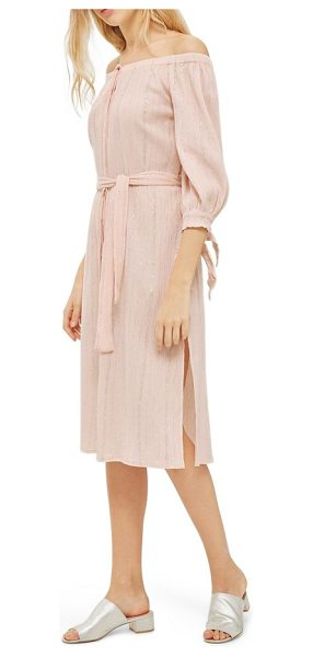 Topshop bardot metallic stripe dress in light pink - Subtle silver stripes glisten with the sun on this...