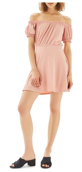 Topshop bardot skater dress in nude - Ruffled, puckered sleeves complete the romance of an...