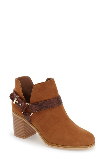 TOPSHOP beckley ring strap bootie - A faux-snake embossed ring strap lends Western-inspired...