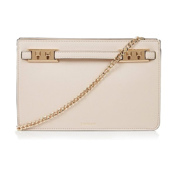 Topshop Belt plate clutch in nude - Neat stitching and polished golden hardware enhance the...