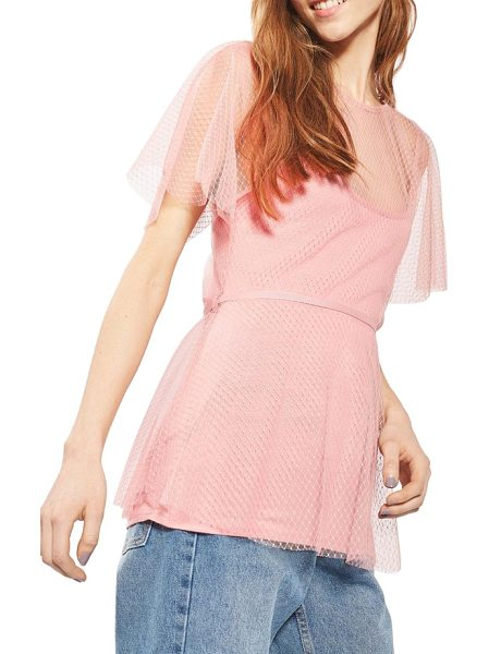 Topshop belted dot mesh top in pink - Bring pretty flair to any day in this trellis and dotted...
