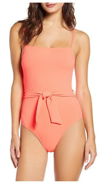 Topshop belted one-piece swimsuit in pink