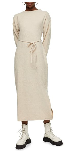 Topshop belted ribbed knit midi dress in beige