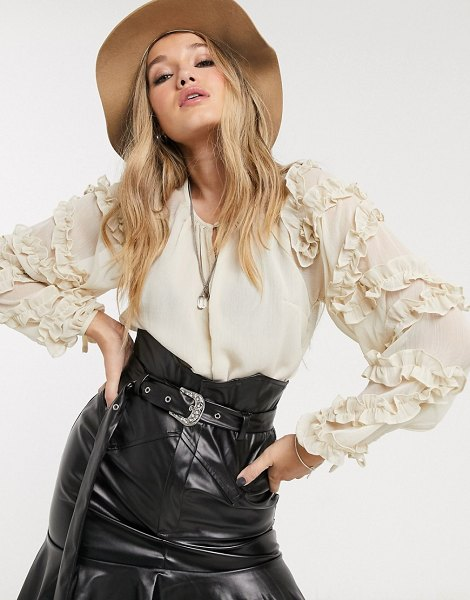 Topshop blouse with ruffle sleeves in cream in cream