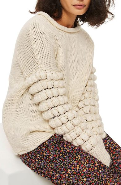 Topshop bobble sleeve sweater in cream - Rows of playful pompoms twist around the sleeves of this...