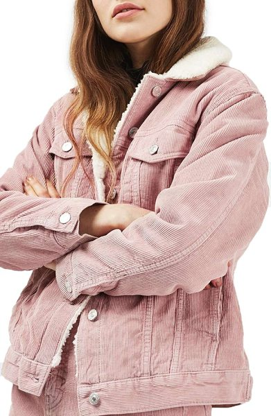Topshop borg corduroy jacket in pink - Soft and textured faux fur provides warmth from the...