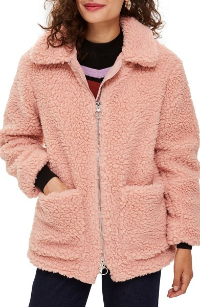 Topshop borg jacket in pink - A nubby knit reinforces the retro vibe of this roomy,...