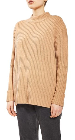 TOPSHOP Boutique cutout wool sweater in brown - A kiss of cashmere softens a ribbed and roomy wool...