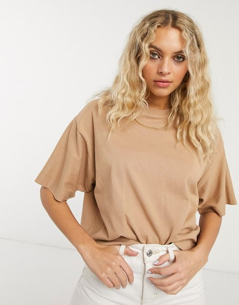 Topshop boxy t-shirt in mocha-brown in brown