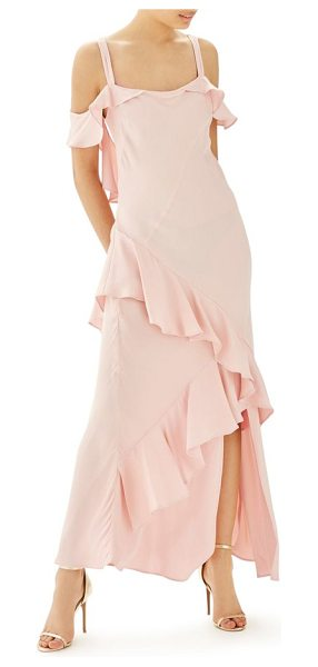 Topshop bride cold shoulder ruffle gown in dull amber - This ethereal gown in a soft pastel hue will look great...