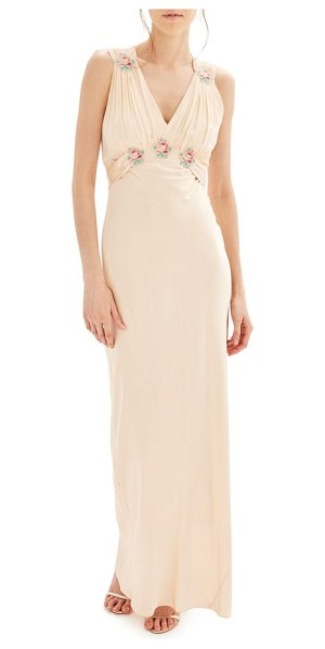 TOPSHOP bride embroidered silk gown - Colorful floral appliques enliven the shirred...
