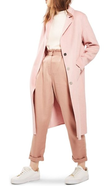 Topshop butted seam duster coat in pink - This smooth wool-infused coat refreshes your autumnal...