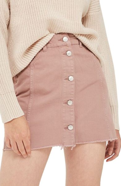 Topshop button denim miniskirt in dusty pink - Button-front styling and a raw-cut hem make this cute...