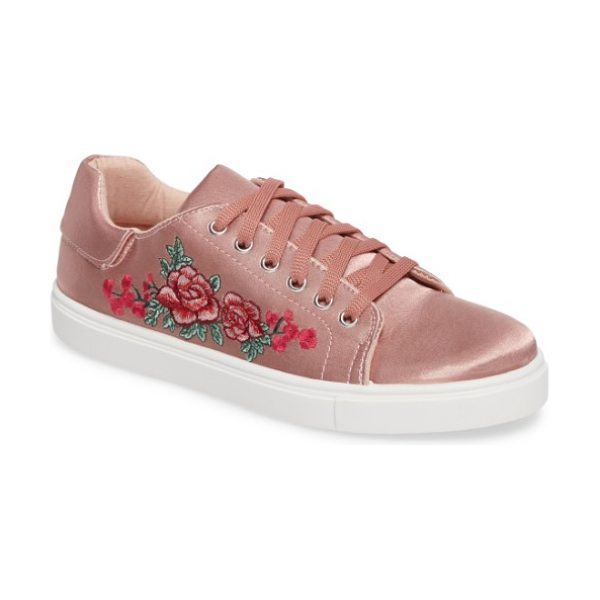 Topshop camilla embroidered sneaker in nude multi - Embroidered flowers bloom at the side of a trend-right...