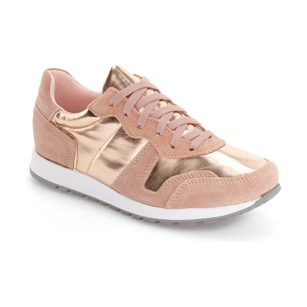 Topshop charlie sneaker in pink - Trend-savvy metallic and rich suede grounds your...