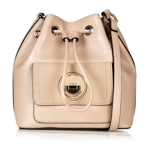 Topshop Circle lock faux leather bucket bag in nude - An adjustable drawstring cinches the top of a roomy...