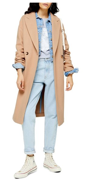 Topshop classic double breasted coat in beige