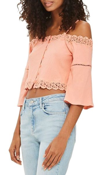 Topshop cold shoulder top in coral - Delicate lace traces a floaty stretch-cotton top cut...