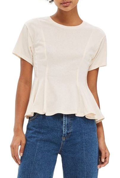 Topshop corset seam tee in sand - A classic tee in soft cotton jersey gets a feminine...