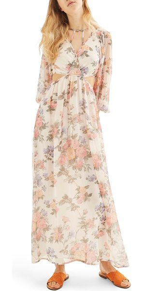 Topshop crinkle floral maxi dress in pink multi - Float on, you modern Mother Nature, in this cutout and...