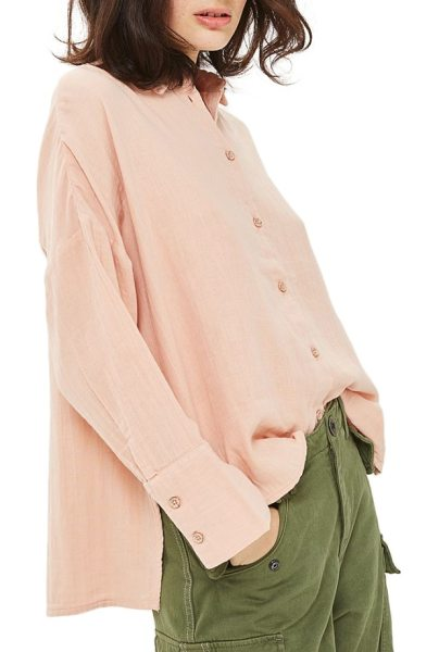 Topshop crinkle shirt in peach - A button-up shirt that's never stuffy or uptight, made...