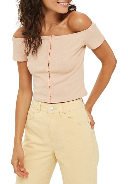 Topshop crop off the shoulder top in blush - A trail of hook-and-eye closures gives flirty lingerie...