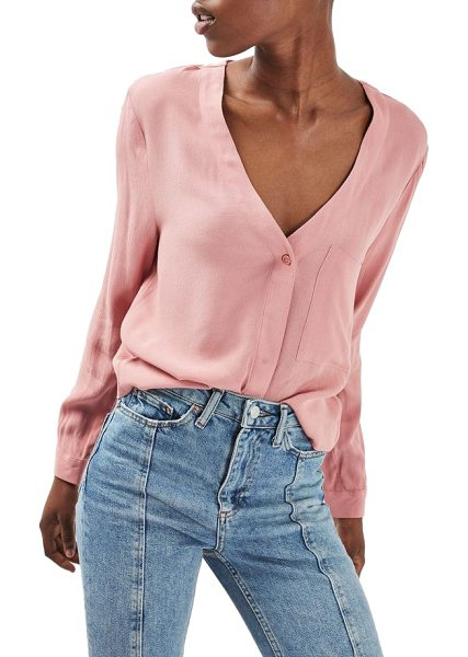 Topshop crop slouch pocket blouse in blush - A work-to-weekend essential is styled with a deep...