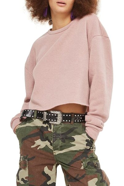 TOPSHOP crop sweatshirt in nude - A raw-cut hem skims the waist to update a classic...
