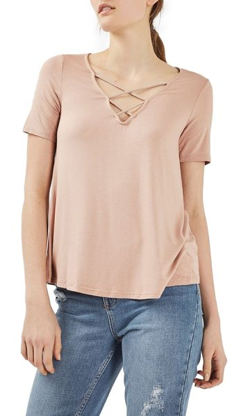 Topshop cross neck tee in nude - Crisscrossed straps highlight the V-neck of this soft...