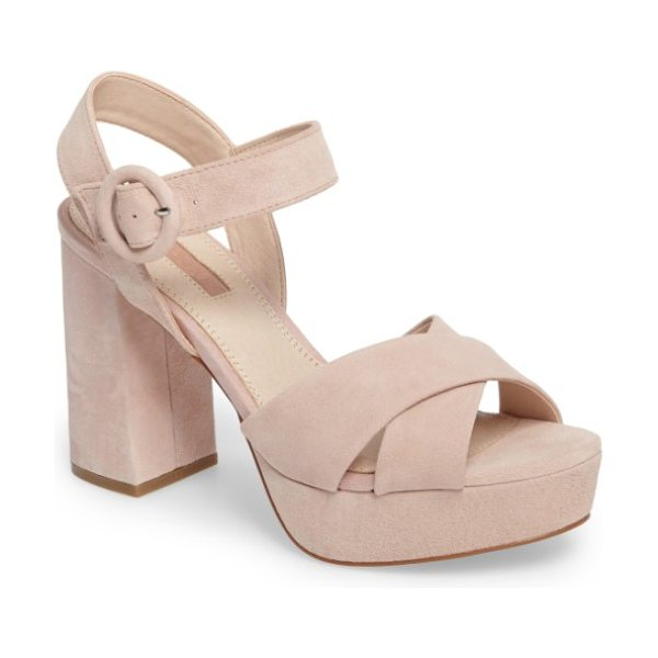 Topshop cross strap platform sandal in nude - A flared block heel and chunky platform add some serious...