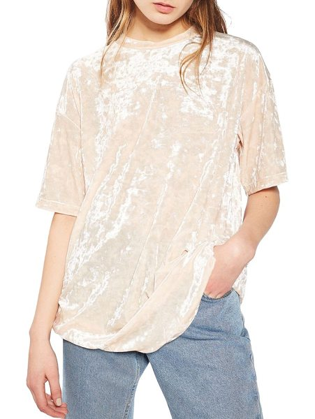TOPSHOP crushed velvet boyfriend tee - A long, slightly baggy tee brings a '90s-glam touch to...