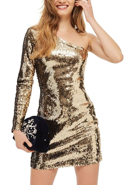 Topshop dazzling sequin one-shoulder minidress in gold - Clinging to every curve with sultry one-shoulder...