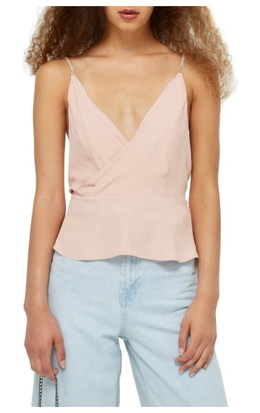 Topshop diamante strap camisole in blush