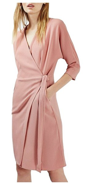 Topshop dolman sleeve wrap midi dress in pink - Looking perfectly polished is a cinch with this tailored...