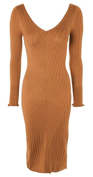 Topshop double v-neck ribbed midi dress in camel - Delicately ribbed in a flattering chevron pattern, this...