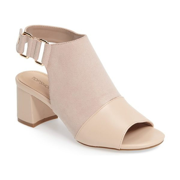Topshop duke block heel faux leather sandal in nude - A sturdy block heel lifts your confidence in these...